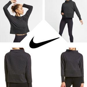 Nike Gray Pullover Mock Neck Fleece Sweatshirt Top